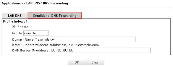 a screenshot of DrayOS DNS forwarding settings