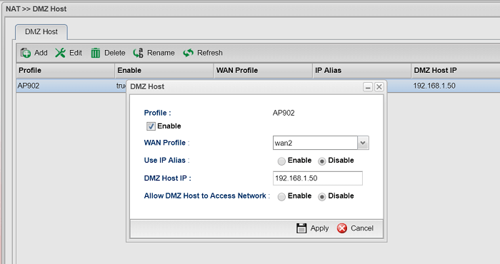 a screenshot of Vigor3900 DMZ Host configuration