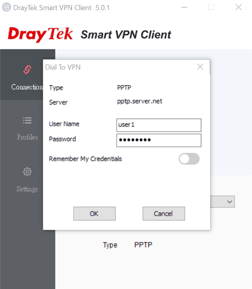 a screenshot of Smart VPN Client Dial To VPN