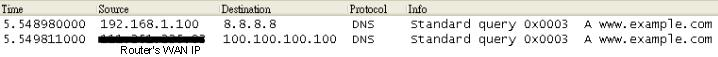 a screenshot of wireshark capturing DNS packets