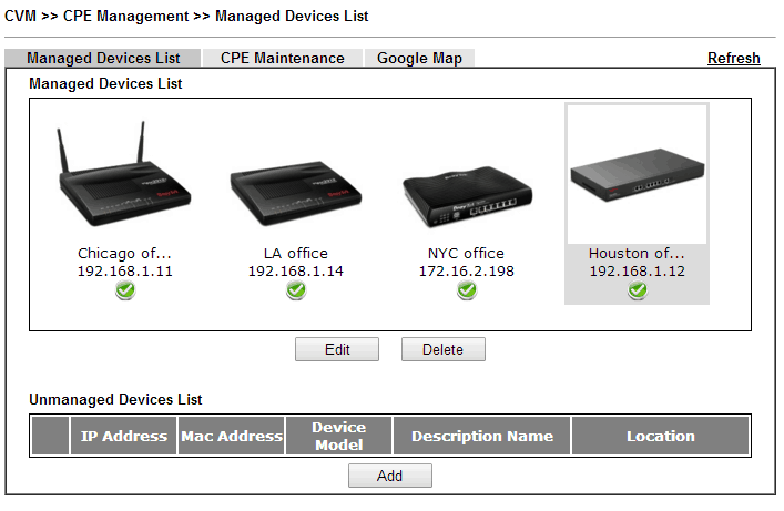 a screenshot of DrayOS CVM Managed Device List