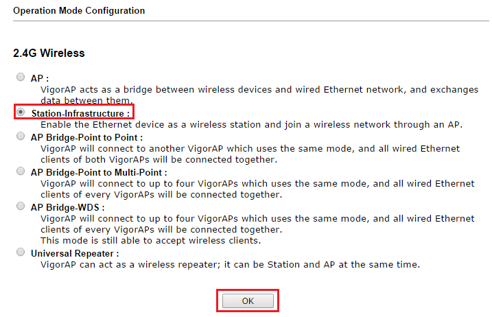 Switching to Station-Infrastructure in operation mode configuration