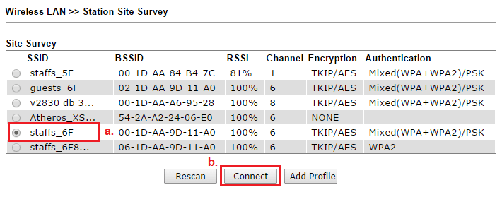 Select the SSID of the ISP