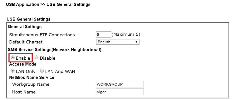 a screenshot of DrayOS USB General Settings