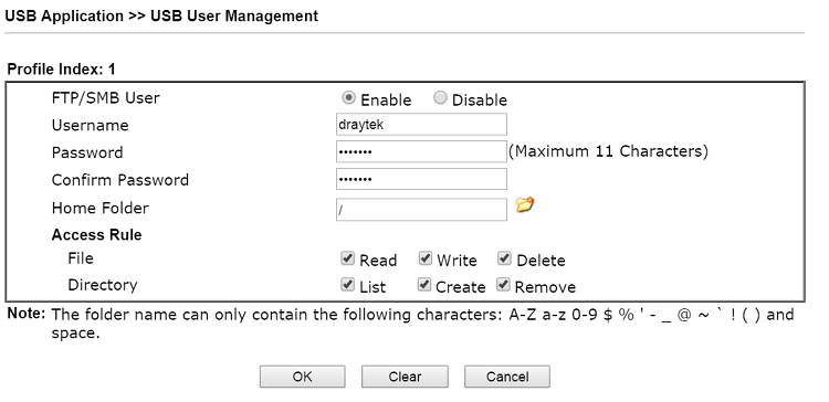a screenshot of DrayOS USB User Management