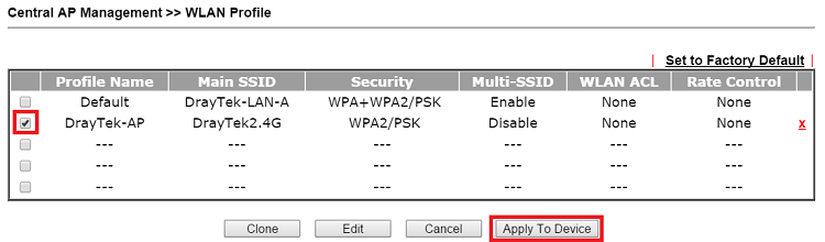 a screenshot of DrayOS APM WLAN profile list