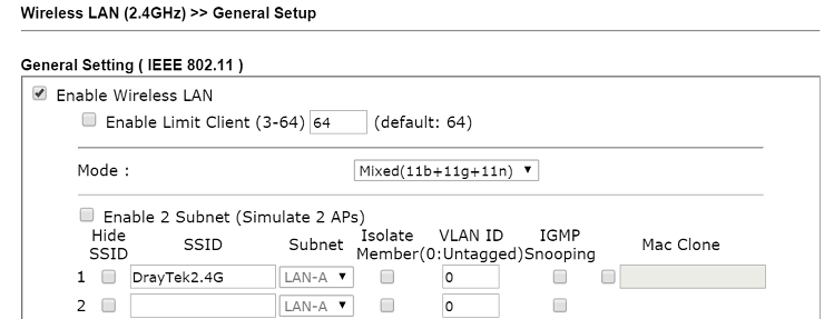 a screenshot of VigorAP's WLAN general setup page