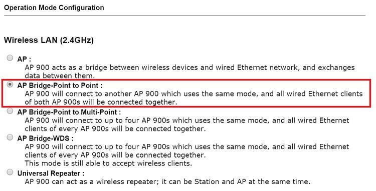 Switching operation mode to AP Bridge-Point to Point