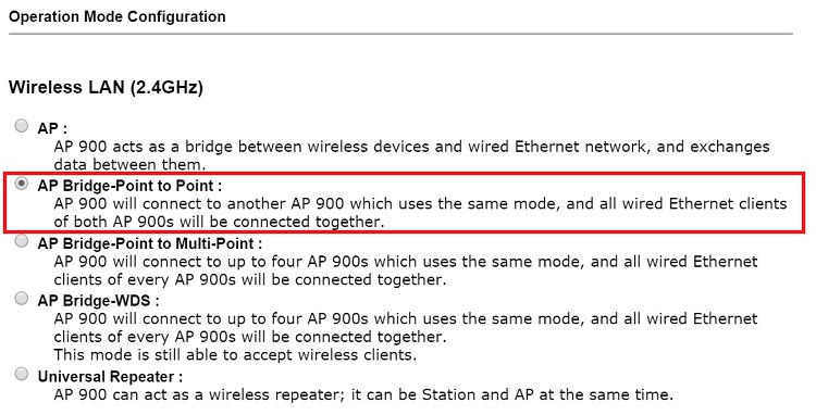 Switching operation mode to  AP Bridge-Point to Point on the peer AP