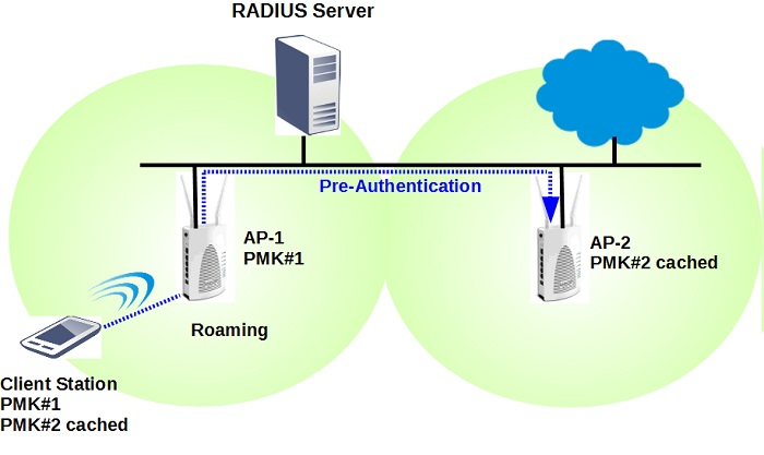 A wireless client do pre-authentication with another AP on LAN