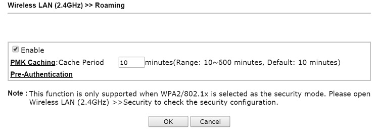 Enable PMK Caching and Pre-Authentication on VigorAP