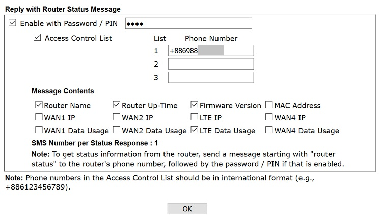 a screenshot of LTE router management page