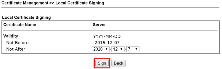 a screenshot of signing Local Certificate on DrayOS