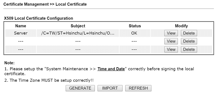 a screenshot of DrayOS Local Certificate list