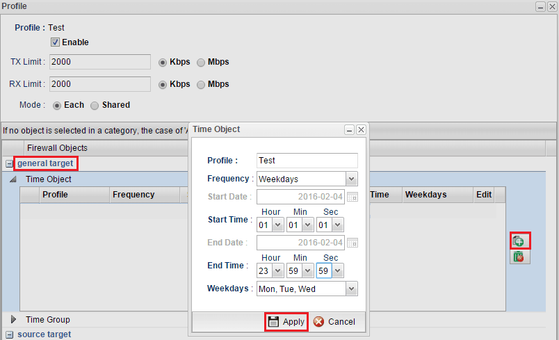 a screenshot of Bandwidth Limit Setup on Vigor3900