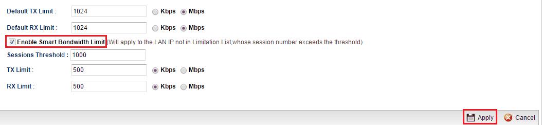a screenshot of Bandwidth Limit Setup on Vigor3900