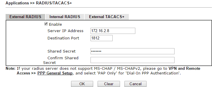 a screenshot of DrayOS External RADIUS Server Settings
