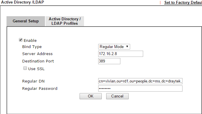 a screenshot of AD/LDAP setup on DrayOS