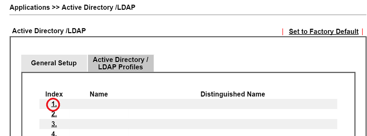 a screenshot of AD/LDAP profile list