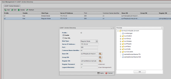 a screenshot of AD/LDAP profile preview