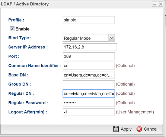 a screenshot of AD/LDAP profile in regular mode