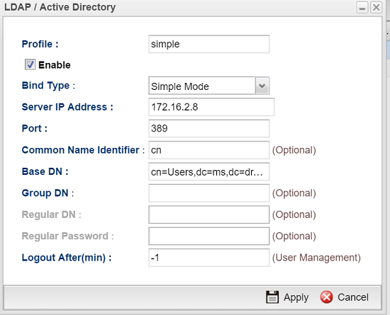 a screenshot of AD/LDAP profile in simple mode