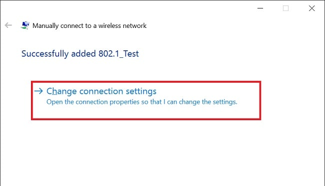 a screenshot of Windows 10 wireless network setup