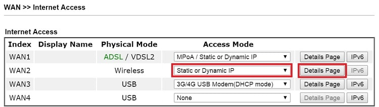 a screenshot of DrayOS Internet Access Setup