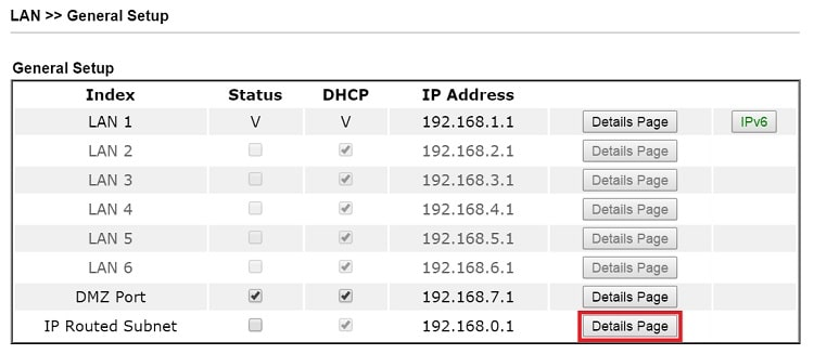a screenshot of DrayOS LAN Subnet list