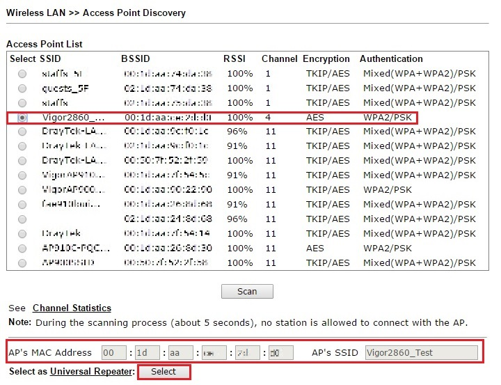 Find the main WLAN network by AP Discovery feature