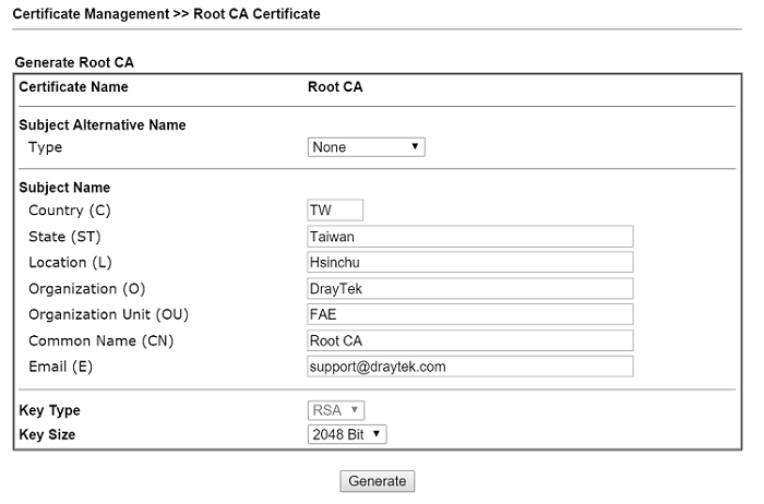a screenshot of DrayOS Root CA Certificate