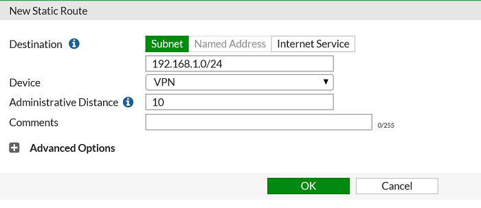 a screenshot of Forigate router