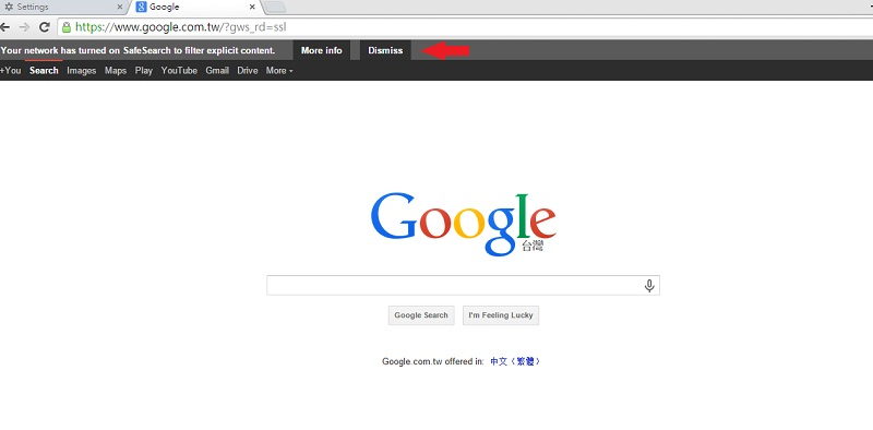 a screenshot of a browser opening Google and it shows SafeSearch has turned on