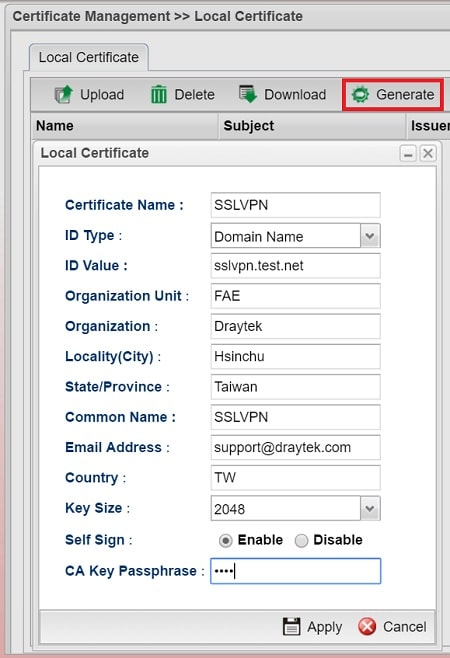 a screenshot of Vigor3900 generating Local Certificate