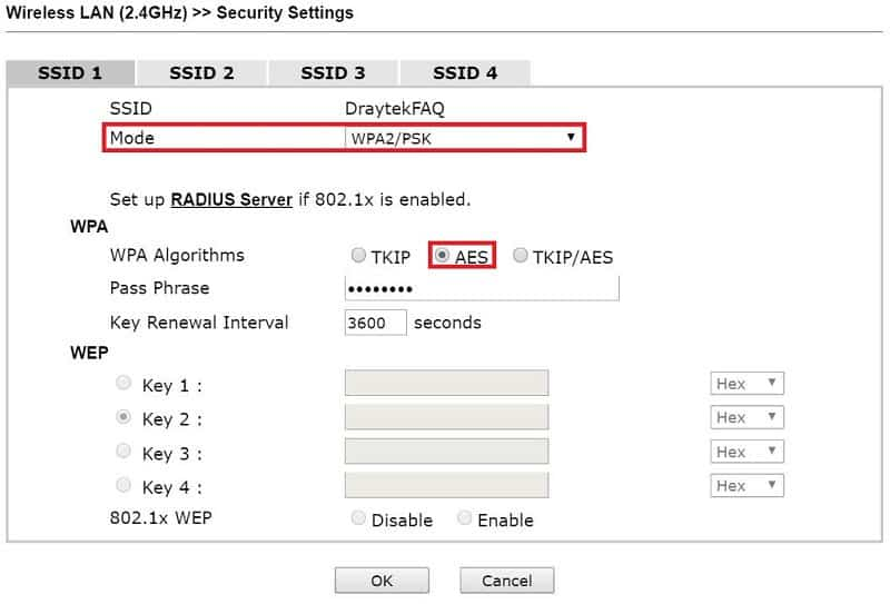 Security settings for the first AP
