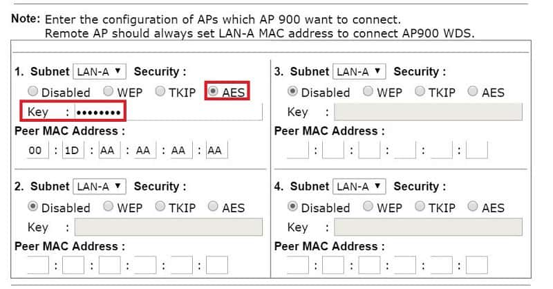 WDS settings of the peer AP