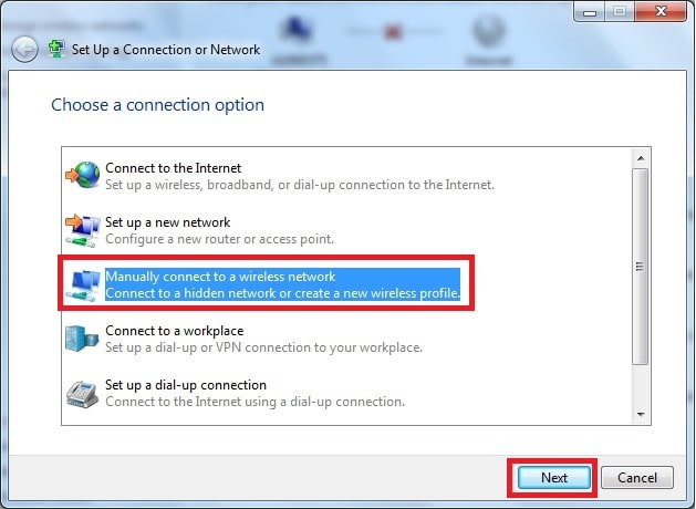 a screenshot of Windows 7 wireless network setup