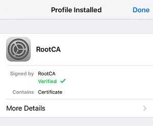 a screenshot of iOS Profile Installed