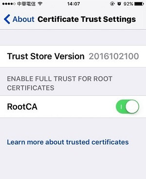 a screenshot of iOS Certificate Trust Settings