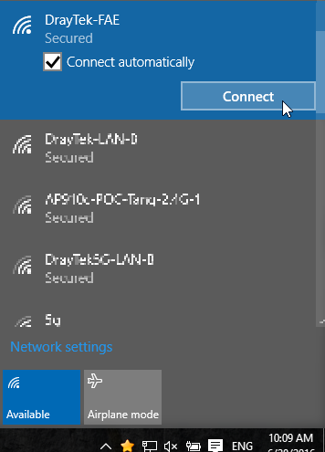 a screenshot of Windows 10 showing nearby SSIDs