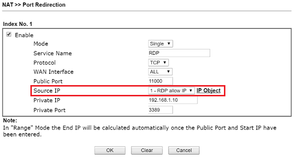 Port Redirection Setup with Source IP