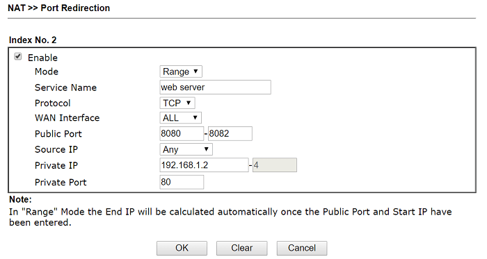 range Port Redirection setting