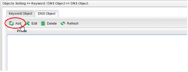 a screenshot of Vigor3900 DNS Object List