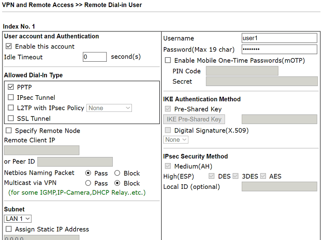 a screenshot of DrayOS VPN Dial-in user profile setup
