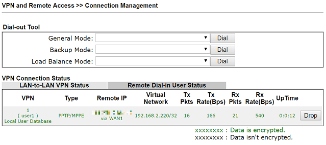 a screenshot of DrayOS VPN Connection status