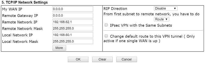 TCP IP Network Settings on VPN Client