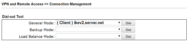 Initiating IKEv2 VPN from Connection Management Page