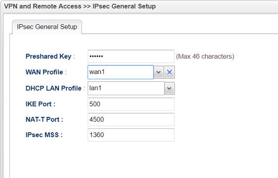 Typing pre-shared key on IPsec General Setup page