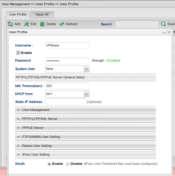 a screenshot of Vigor3900 XAuth User profile