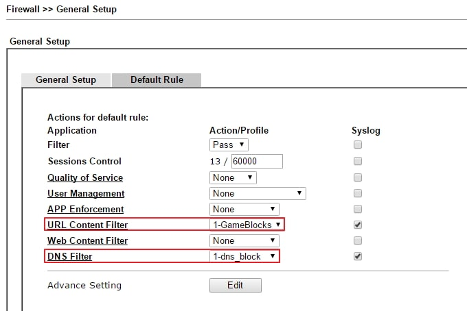 a screenshot of applying the URL filter and DNS filter in Firewall Default Rule